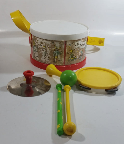 Vintage 1979 Fisher Price #921 Marching Band Drum with Other Instruments