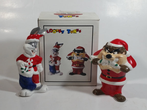 "1993 Warner Bros. Looney Tunes Bugs Bunny and Taz Cartoon Characters Christmas Themed 5"" Tall Ceramic Salt & Pepper Shakers In Box"