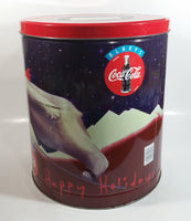 "1995 Always Coca-Cola Coke Soda Beverage Happy Holidays Polar Bear Doing Winter Sports Flavored Popcorn 11"" Tall Tin Metal Canister"