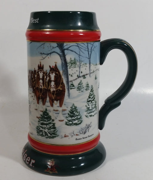 1991 Budweiser Holiday Stein Collection The Season's Best Ceramic Beer Stein By Artist Susan Sampson - Handcrafted in Brazil by Ceramarte