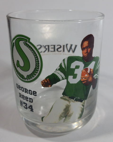 "Wiser's Canadian Whiskey CFL Canadian Football League Saskatchewan Roughriders Team George Reed Player #34 4"" Tall Glass Whiskey Cup"