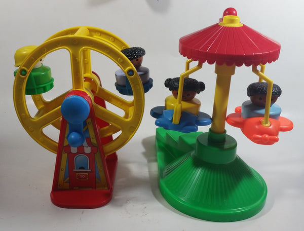 1993 Fisher Price Little People Country Fair Ferris Wheel and Airplane Amusement Rides Toys with 5 Characters