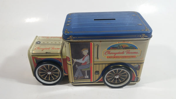 Cherrydale Farms Fine Confections Farm Delivery Truck Shaped Tin Metal Coin Bank