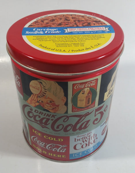 1994 Coca-Cola Coke Soda Pop Carriage Trade Mini Twist Pretzels Nostalgic Tin Beverage Advertising Collectible