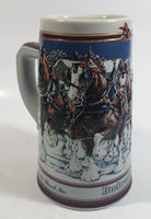 "1989 Budweiser Holiday Stein Collection Collector's Series ""The hitch on a winter's evening."" Ceramic Beer Stein - Handcrafted in Brazil by Ceramarte"