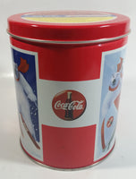 Coca-Cola Coke Soda Pop Drink Beverage Polar Bear Red and White Round Tin Metal Canister Collectible with Carriage Trade Mini Twist Pretzel Sticker Still On The Lid