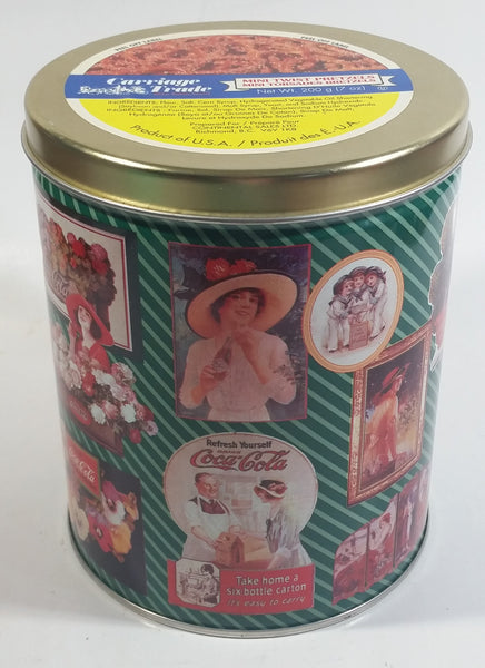 "1995 Coca-Cola Coke Soda Pop Drink Beverage ""World of Coke"" Coke Girls with Flowers Green Round Tin Metal Canister Collectible with Carriage Trade Mini Twist Pretzel Sticker Still On The Lid"