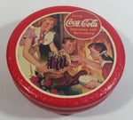 Coca-Cola Coke Soda Pop Drink Beverage Kids by Fireplace Scene Red Small Round Tin Metal Canister