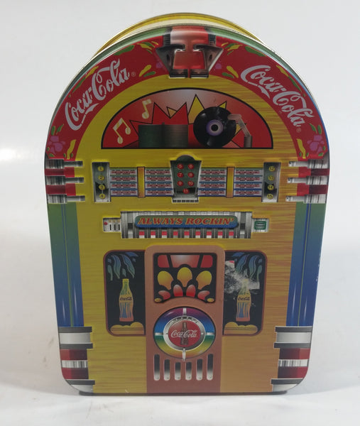 "1998 Coca-Cola Coke Soda Pop Drink Beverage Always Rockin' 6"" Tall Jukebox Shaped Tin Metal Canister"