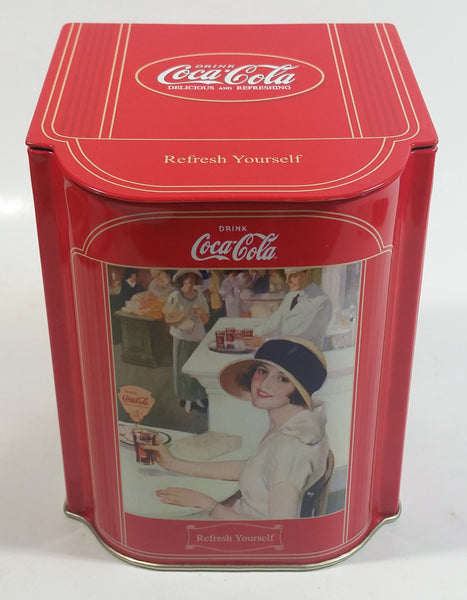 "Coca-Cola Coke Soda Pop Drink Beverage Refresh Yourself 5 1/2"" Tall Tin Metal Hinged Lid Container"