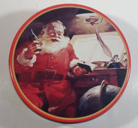 "1986 Coca-Cola Coke Soda Pop Drink Beverage Christmas Holiday Santa Claus with Themed 7"" Diameter Tin Metal Round Container"
