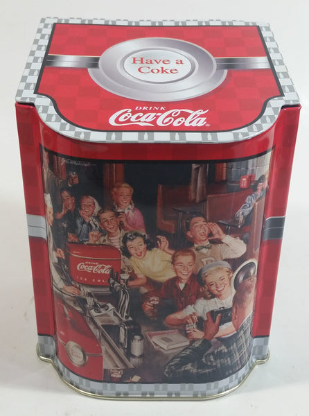 "Coca-Cola Coke Soda Pop Drink Beverage Have a Coke 5 1/2"" Tall Tin Metal Hinged Lid Container"
