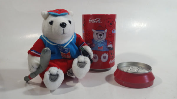 "2004 Athens Summer Olympic Games Coca-Cola Coke Soda Pop Drink Beverage 5"" Tall Can Shaped Tin Metal Container with Polar Bear Holding Bottle Stuffed Plush Teddy"