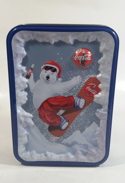 1996 Coca-Cola Coke Soda Pop Drink Beverage Polar Bear Snowboarding Tin Metal Container