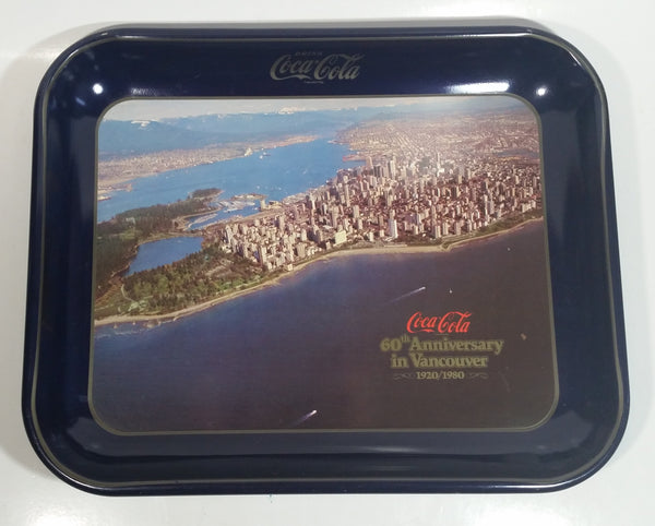 Vintage 1980 60th Anniversary of Coca-Cola in Vancouver 1920-1980 Aerial Shot of Downtown Vancouver and Part of Stanley Park Official Blue Metal Beverage Tray