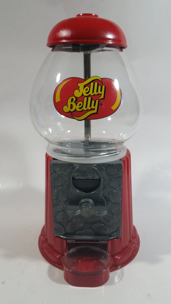"Jelly Belly Metal and Glass Globe Red Colored 9"" Tall Jelly Bean Candy Dispenser"