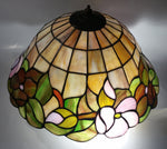 "Beautifully Colored Stained Glass Ceiling Light Fixture 3 Socket 15"" Diameter"