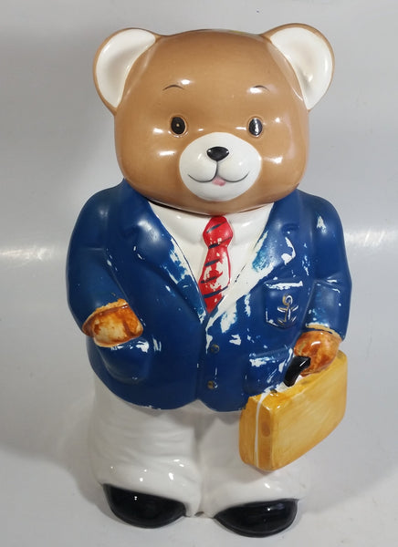 Teddy Bear In Blue Businessman Suit Sailor Outfit Ceramic Cookie Jar
