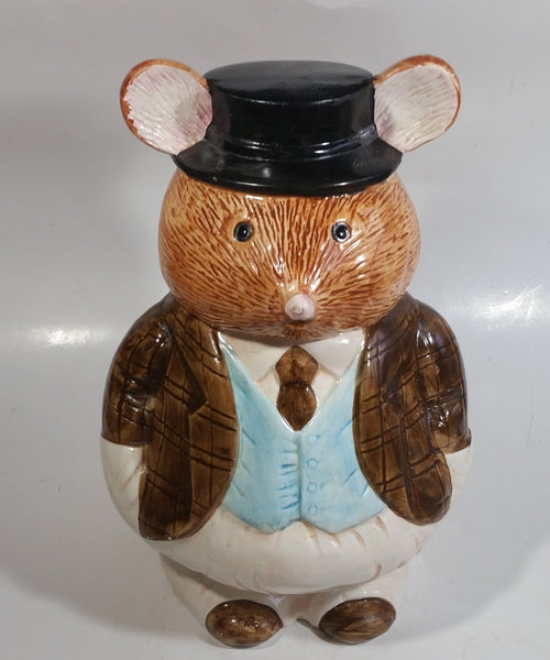 Rat Mole Style Brown Businessman Suit Outfit Ceramic Cookie Jar