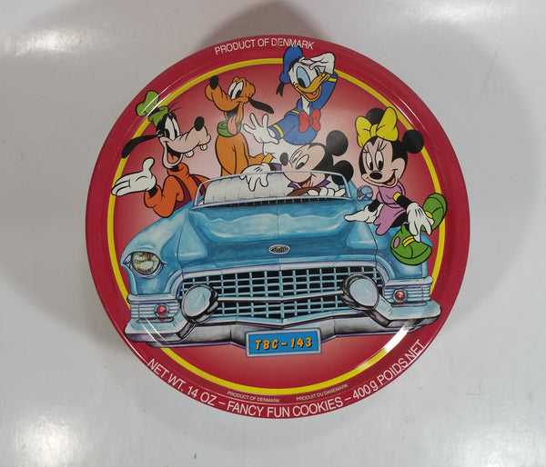 Walt Disney Classic Car and Mickey Mouse Cartoon Characters Themed Fancy Fun Cookies Red Round Tin Metal Container