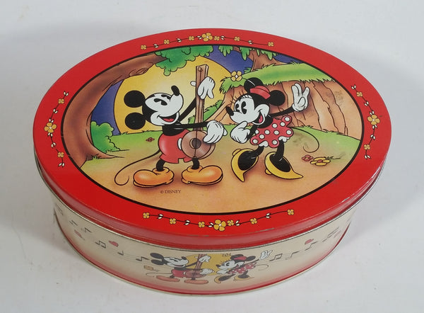 Walt Disney Mickey Mouse and Minnie Mouse Serenade Hard Candies Red Oval Shaped Tin Metal Container
