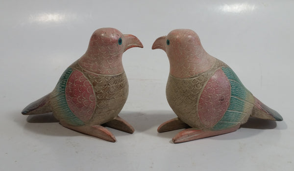 Pair of Colorfully Painted Wood Carved Love Bird Sculptures