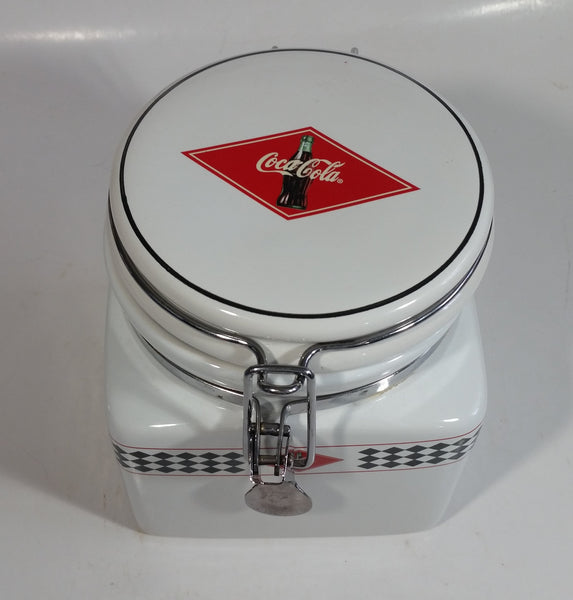 2003 Gibson Coca-Cola Coke Checkerboard Themed White Ceramic Food Canister