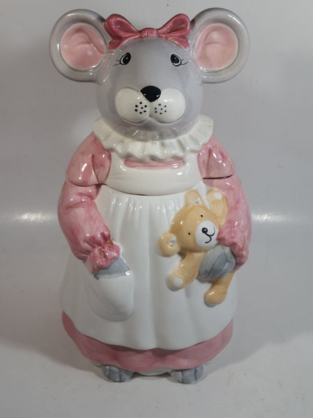 1990 House of Lloyd Grey Mouse in a Pink Dress Holding a Teddy Bear Ceramic Cookie Jar