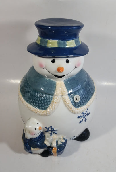 GKAO White and Blue Scarfed Snowman Ceramic Cookie Jar