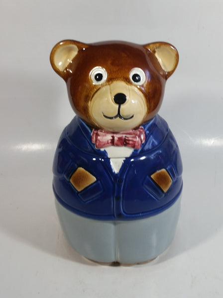 Businessman Bear in Blue Business Suit Ceramic Cookie Jar
