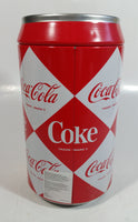 "2003 Coca-Cola Coke Soda Pop Red and White Diamond Pattern 7 3/4"" Tall Can Shaped Metal Coin Bank"