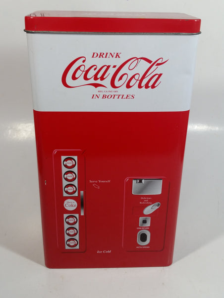 "1999 Coca-Cola Coke Soda Pop Red and White Vending Machine Shaped 10"" Tall Tin Metal Container"