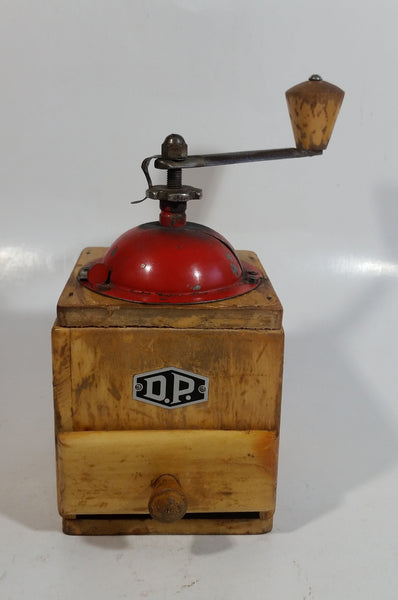 Antique D.P. Wood and Metal Manual Coffee Grinder