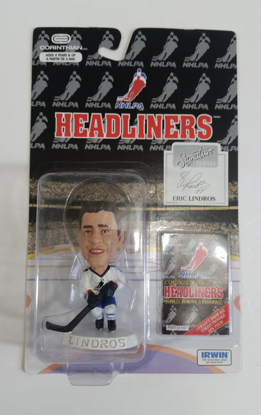 1996 Corinthian Headliners Signature Edition NHL NHLPA Ice Hockey Player Eric Lindros #4 Figure New in Package White Version