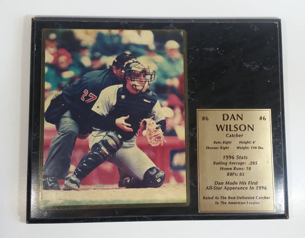 "PhotoFile MLB Major League Baseball Player Catcher #6 Dan Wilson Black Marble Textured Wood 12"" x 14 3/4"" Wall Plaque Sports Collectible"
