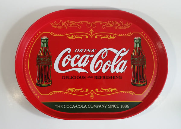 "Drink Coca-Cola Delicious and Refreshing Coke Soda Pop 11 1/2"" x 15 1/2"" Metal Beverage Serving Tray"