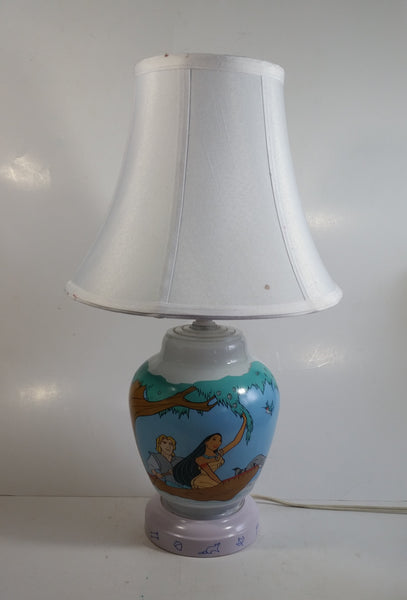 "1990s Disney Animated Movie Film Pocahontas Cartoon Characters 18"" Tall Milk Glass Lamp"