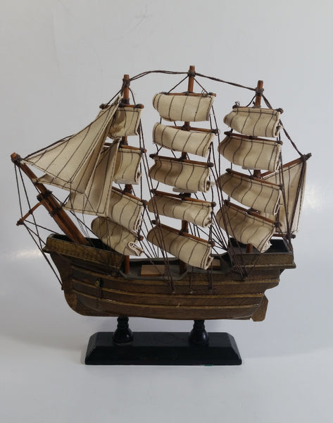 "Vintage 3 Mast Wooden Sail Boat Ship Model Nautical Collectible 9"" Long"