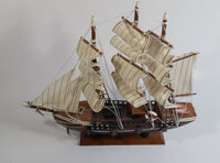 "Vintage Highly Detailed 3 Mast Wooden Sail Boat Ship Model Nautical Collectible 13"" Long"