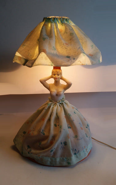 Vintage Victorian Style Elegantly Dressed Woman Wearing Fabric Dress Lamp Light Collectible