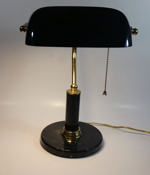 "Vintage Curved Black Glass on Brass Black Marble Base and Pillar Bankers Desk Lamp 15"" Tall"