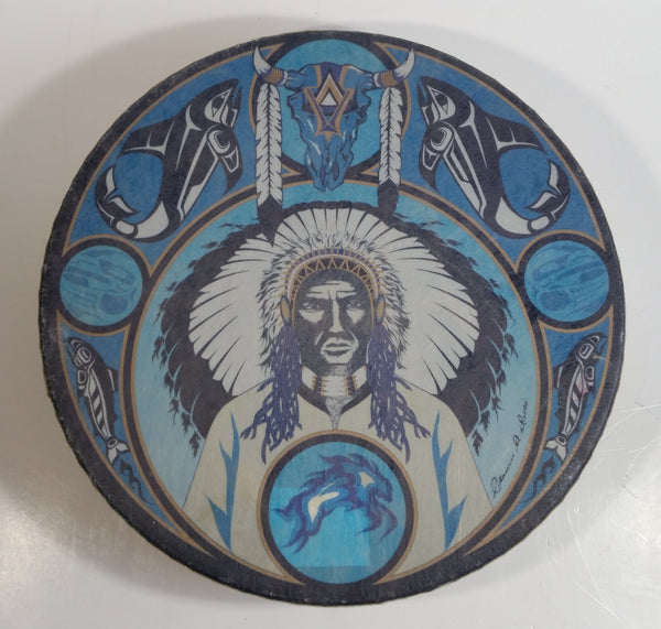 Rare Version Clarence A. Wells Port Simpson, B.C. Aboriginal Art Chief with Orca Whales, Salmon, and Buffalo Skull Blue Tone Deer Hide Rimmed Drum Print