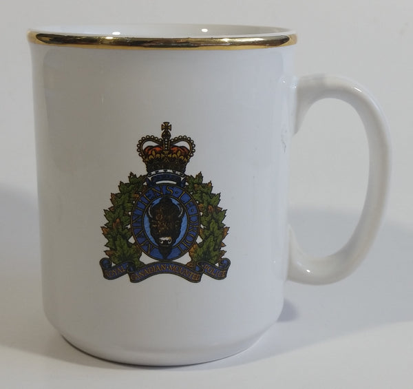 "Vintage RCMP Royal Canadian Mounted Police Crest Decor Gold Rimmed Ceramic Coffee Mug ""Tams"" Made in England"
