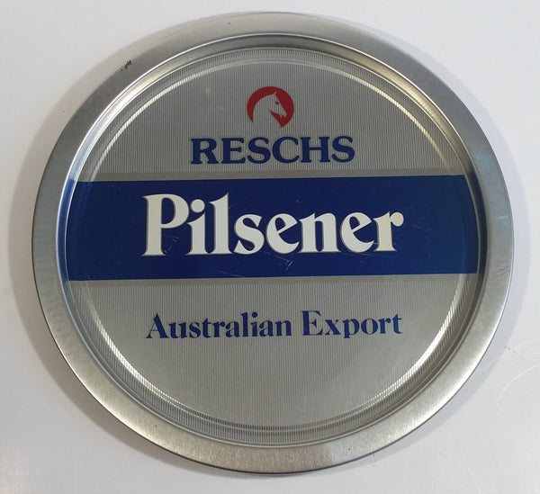 "Vintage Reschs Pilsener  Beer Vintage Reschs Pilsener Beer Australian Export 13"" Diameter Round Metal Beverage Serving Tray Made by DalsonAustralian Export 13"" Diameter Round Metal Beer Tray Made by Dalson"