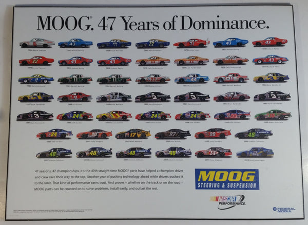 "2012 Moog 47 Years of Dominance NASCAR Performance Large 17 3/4"" x 24"" Wooden Wall Plaque Automotive Motorsports Racing Collectible Wall Decor"