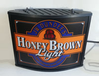 JW Dundee's Honey Brown Light Beer Light Lager Flavored with Honey Up Illuminated Sign
