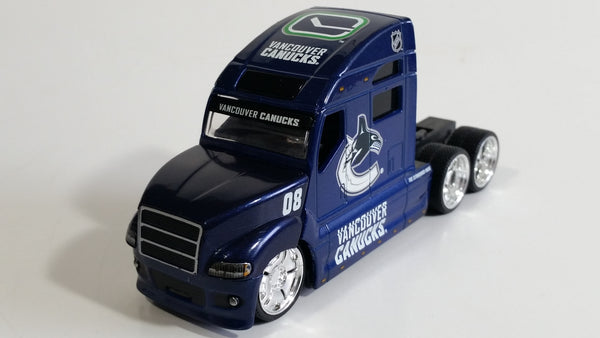 2009 Maisto Top Dog Collectibles NHL Vancouver Canucks Ice Hockey Team Semi Transport Truck Rig Dark Blue 1/64 Scale Die Cast Toy Car Vehicle with Opening Hood