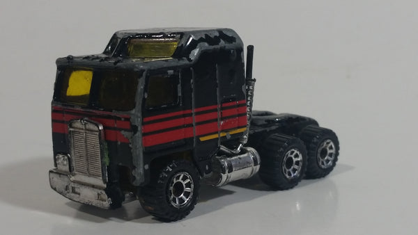 1993 Matchbox Super Rigs Kenworth Cabover Aerodyne Semi Tractor Truck Rig Harley Davidson Black Die Cast Toy Car Vehicle