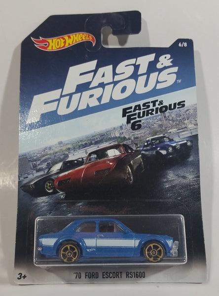 2017 Hot Wheels Fast & Furious 6 '70 Ford Escort RS1600 Metalflake Blue Die Cast Toy Car Vehicle New in Package Sealed 6/8