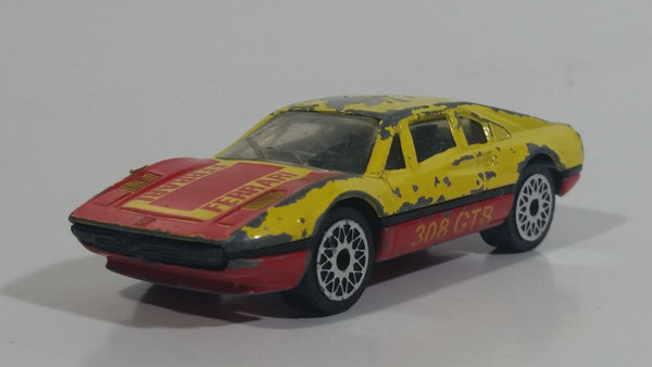 Vintage 1986 Matchbox No. 70 Ferrari 308 GTB Yellow and Red Die Cast Toy Race Car Vehicle